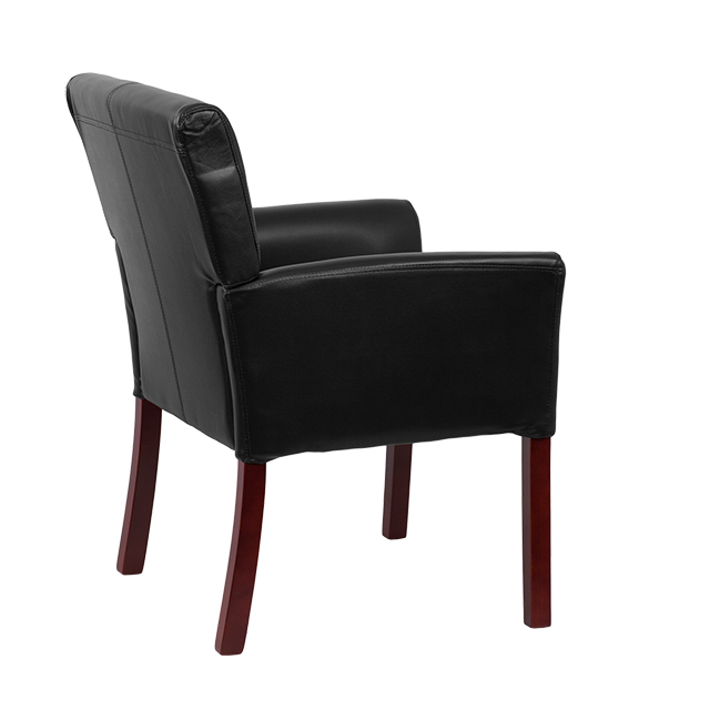 Black Leather Executive Side Reception Chair With Mahogany Legs  [BT 353 BK LEA GG]