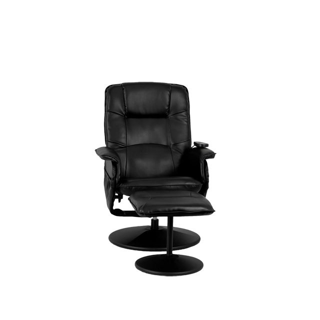 Massaging Black Leather Recliner And Ottoman With Leather Wrapped Base  [BT 753P MASSAGE BK GG]