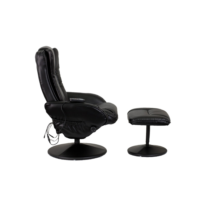 Massaging Black Leather Recliner And Ottoman With Leather Wrapped Base  [BT 7672 MASSAGE BK GG]