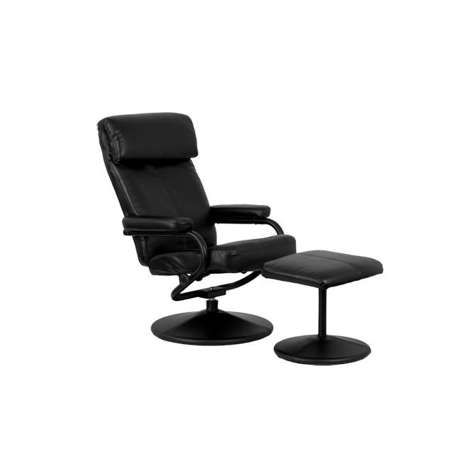Contemporary Black Leather Recliner And Ottoman With Leather Wrapped Base  [BT 7863 BK GG]