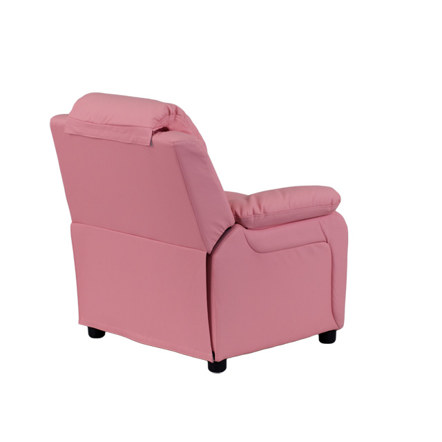 Deluxe Padded Contemporary Pink Vinyl Kids Recliner with Storage ...