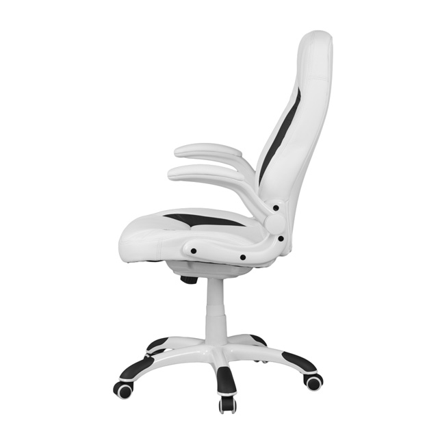 Close x - High Back White Leather Executive Swivel Chair With Flip-Up Arms