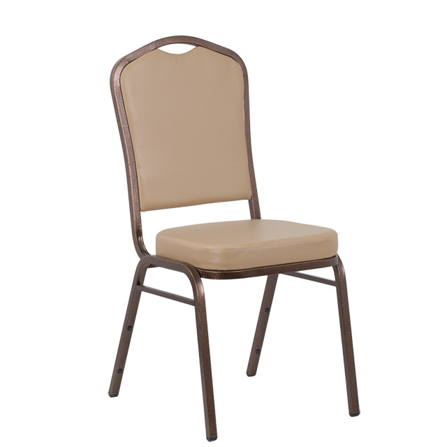 HERCULES Series Crown Back Stacking Banquet Chair In Tan Vinyl   Copper  Vein Frame, FD C01 COPPER TN VY GG
