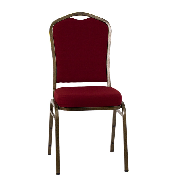HERCULES Series Crown Back Stacking Banquet Chair In Burgundy Fabric   Gold  Vein Frame [FD C01 GOLDVEIN 3169 GG]