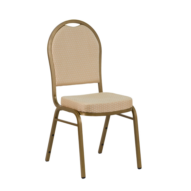 Awesome HERCULES Series Dome Back Stacking Banquet Chair In Beige Patterned Fabric    Gold Frame [FD C03 ALLGOLD H20124E GG]