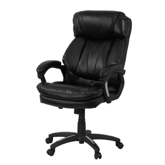 high back black leather executive swivel chair with arms, go-1097