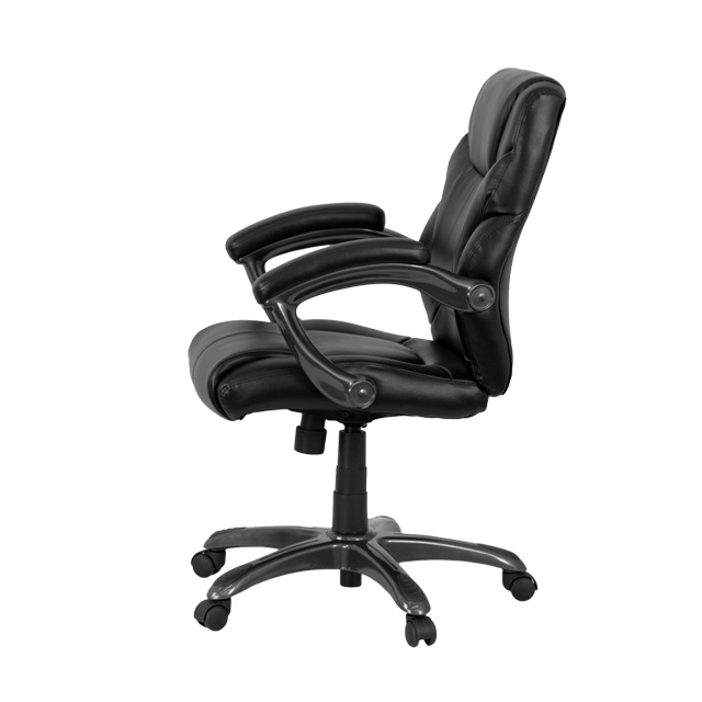 mid-back black leather overstuffed swivel task chair with arms, go