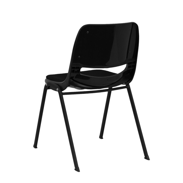 HERCULES Series 880 Lb. Capacity Black Ergonomic Shell Stack Chair With  Padded Seat And Back [RUT EO1 01 PAD GG]