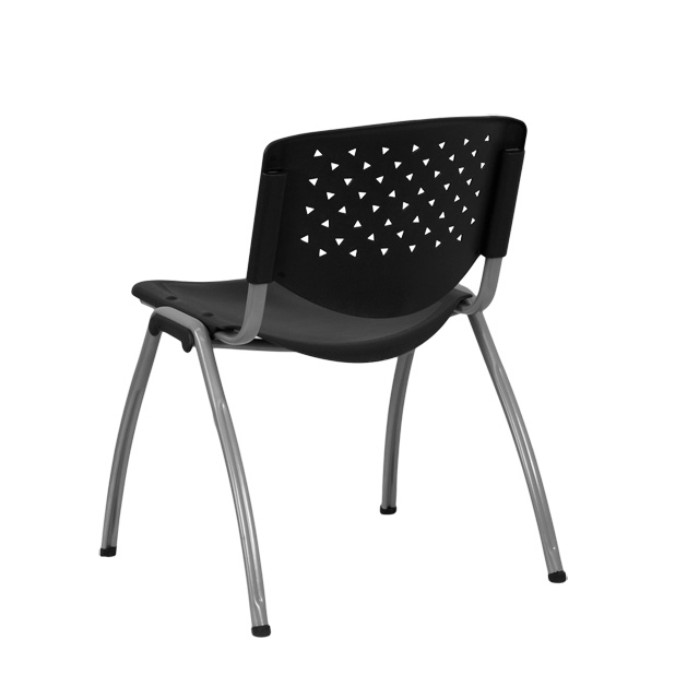 HERCULES Series 880 Lb. Capacity Black Plastic Stack Chair With Titanium  Frame [RUT F01A BK GG]