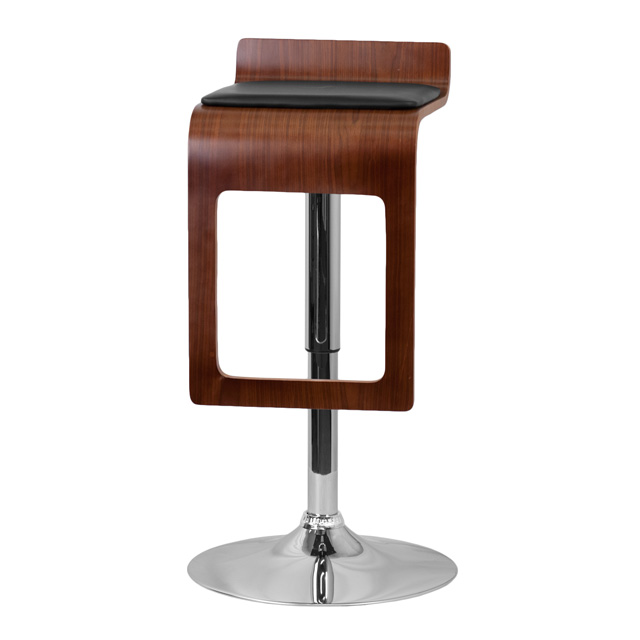 Walnut Bentwood Adjustable Height Barstool With Drop Frame