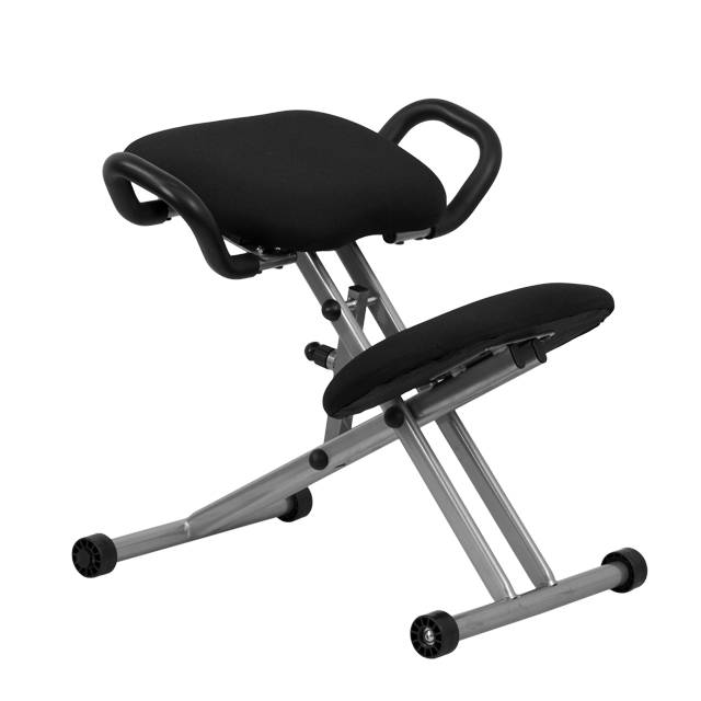 ergonomic kneeling chair with handles in black fabric, wl-1429-gg