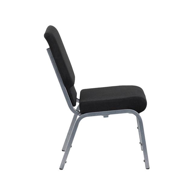 HERCULES Series 18.5u0027u0027W Stacking Church Chair In Black Fabric   Silver Vein  Frame [XU CH 60096 BK SV GG]