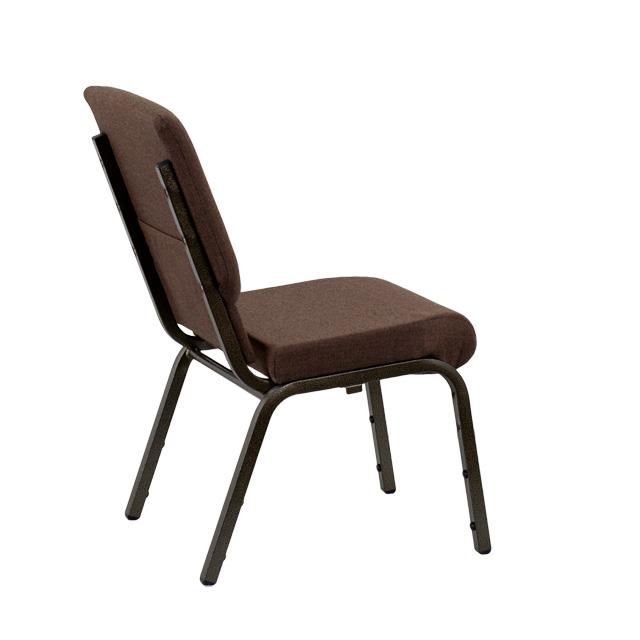 HERCULES Series 18.5u0027u0027W Stacking Church Chair In Brown Fabric   Gold Vein  Frame [XU CH 60096 BN GG]